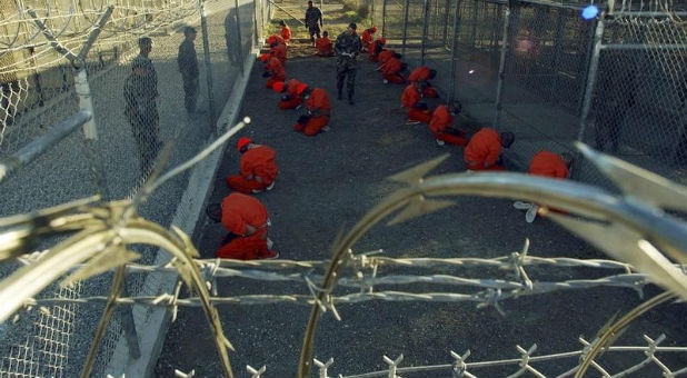 Inmates in the US military prison, Guantanamo Bay