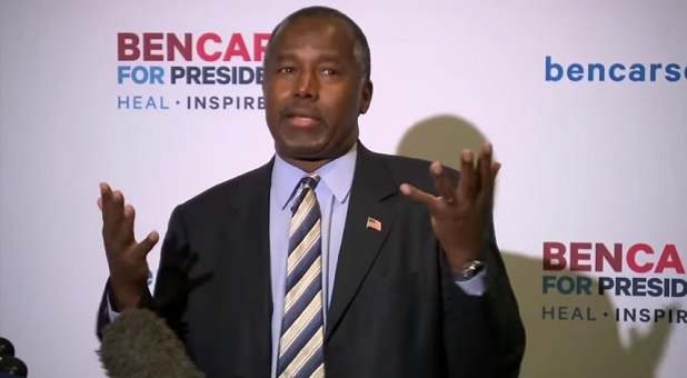 Ben Carson speaking at campaign press conference