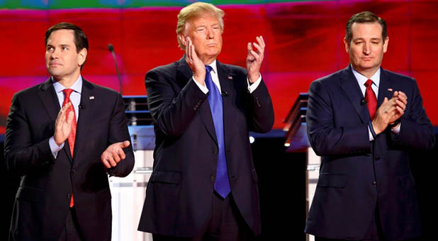 Marco Rubio, Donald Trump, and Ted Cruz