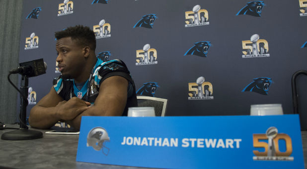When Carolina Panthers running back Jonathan Stewart awakens Sunday morning to the day of his dreams—the day he'll play in his first Super Bowl—he expects to be overwhelmed by the Lord's goodness.