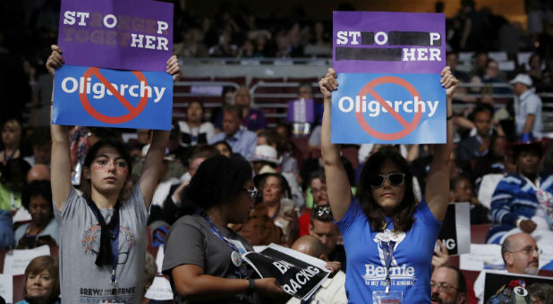 Former Sanders delegates continue to protest against Democratic U.S. presidential nominee Clinton at the Democratic National Convention in Philadelphia