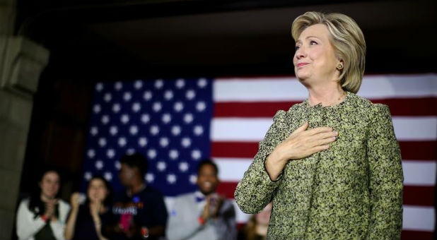 U.S. Democratic presidential candidate Hillary Clinton reacts after speaking at a campaign event at Temple University in Philadelphia