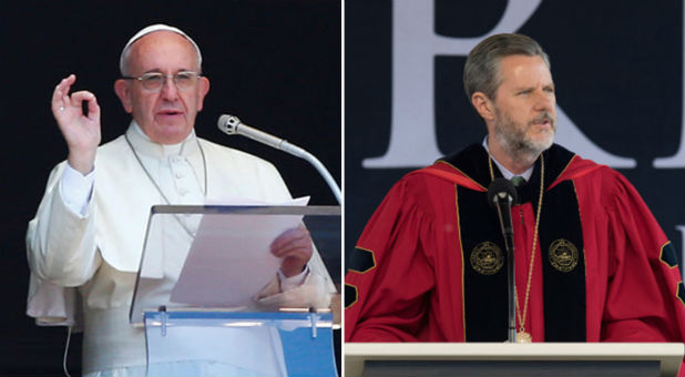 Pope Francis and Jerry Falwell Jr.