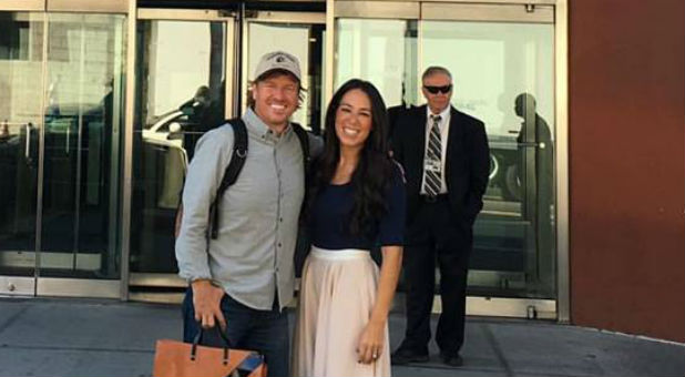Chip and Joanna Gaines at the CBS building.
