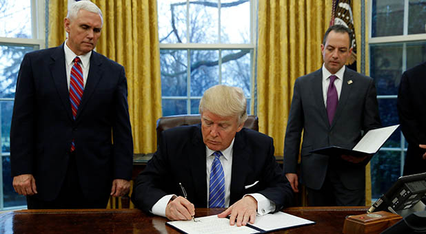 President Donald Trump, Vice President Mike Pence and White House Chief of Staff Reince Priebus