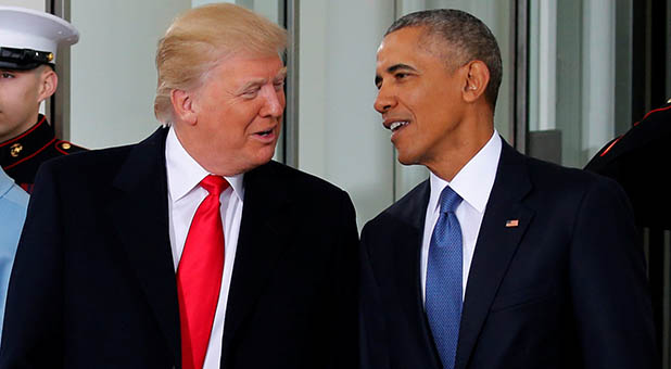 Presidents Donald Trump and Barack Obama