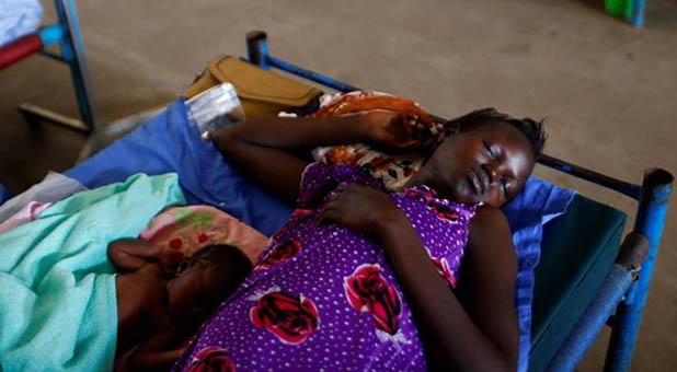 South Sudanese Mother and Child in Pediatric Ward at a UN Mission Hospital