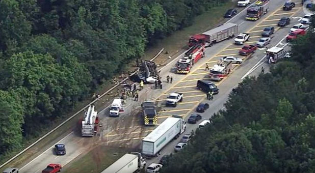 Parkway outside Atlanta filled with first responders helping victims of church bus accident.