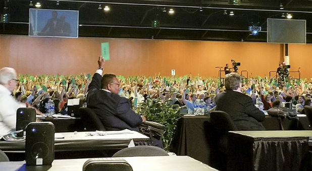 "Messengers raise their ballots to approve a request by the Resolutions Committee to present a resolution on ""anti-Gospel alt-right white supremacy"" at the Southern Baptist Convention annual meeting at the Phoenix Convention Center."
