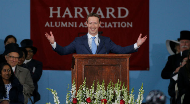 Facebook founder Mark Zuckerberg speaks during the Alumni Exercises following the 366th Commencement Exercises at Harvard University in Cambridge, Massachusetts.