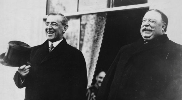 "It was President Woodrow Wilson, left, who reminded us that, ""A nation which does not remember what it was yesterday does not know what it is today, nor what it is trying to do."""