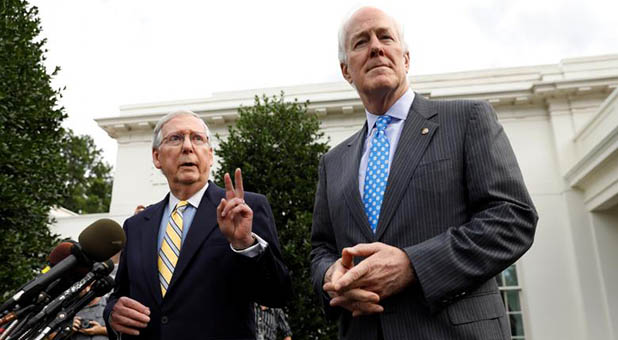 Senate Majority Leader Mitch McConnell, R-Ky., and Senate Majority Whip John Cornyn, R-Texas