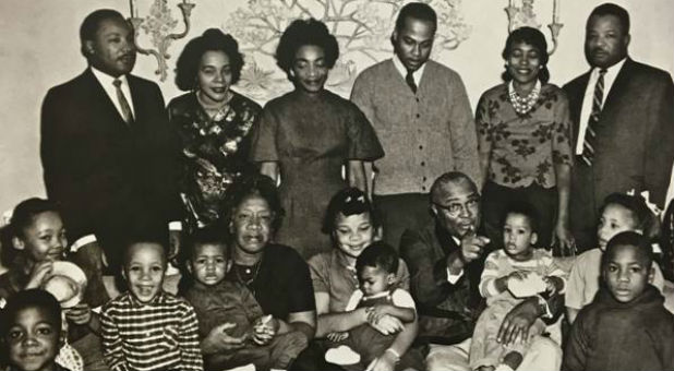 Martin Luther King Jr., top left, with his family.