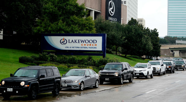 Houston residents wait to get into Lakewood Church.