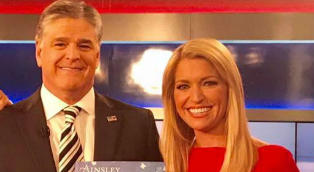 Ainsley Earhardt, right, with Sean Hannity.