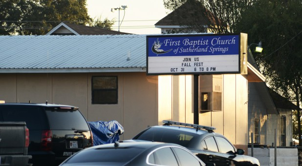 First responders are at the shooting scene at the First Baptist Church in Sutherland Springs, Texas.