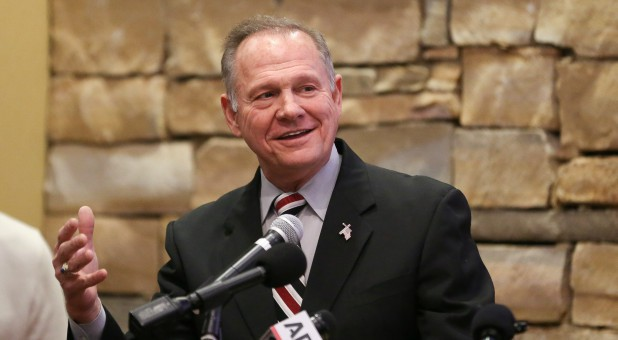 Judge Roy Moore speaks as he participates in the Mid-Alabama Republican Club's Veterans Day Program in Vestavia Hills, Alabama.