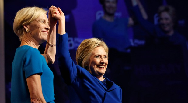 Cecile Richards, left, with Hillary Clinton.