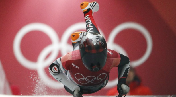 Elisabeth Vathje of Canada competes in skeleton.