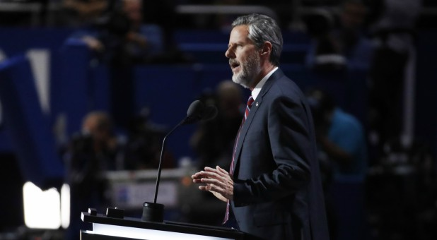 Jerry Falwell Jr., president of Liberty University, speaks at the Republican National Convention.