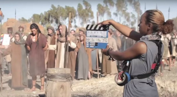 "A scene from the set of ""Samson."""
