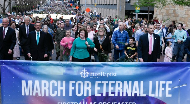 Robert Jeffress, third from left participates in the March for Eternal Life.