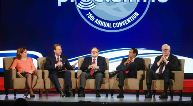 A panel speaks on religious freedom at Proclaim 18.