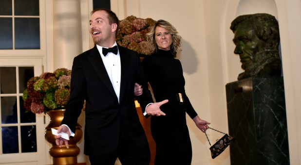 Chuck Todd of MSNBC (L) and Kristian Todd (R) arrive for a state dinner honoring Italian Prime Minister Matteo Renzi at the White House in Washington Oct. 18, 2016.