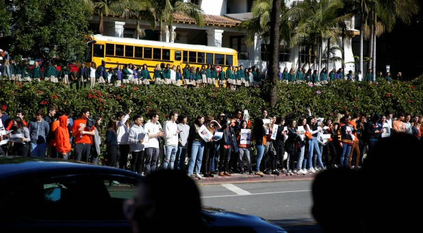 Brentwood School Los Angeles students march out of their campus in solidarity with students across the country for the National School Walkout in Los Angeles.