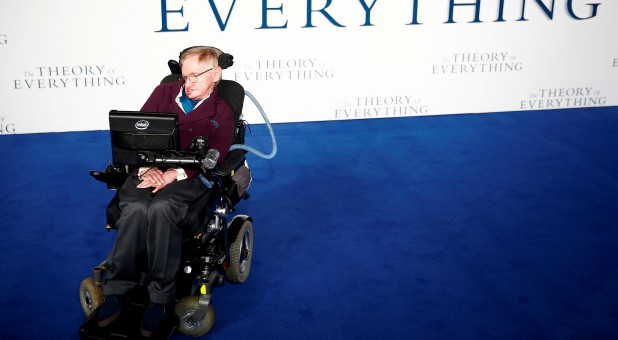 "Stephen Hawking arrives at the U.K. premiere of the film ""The Theory of Everything,"" which is based around his life."