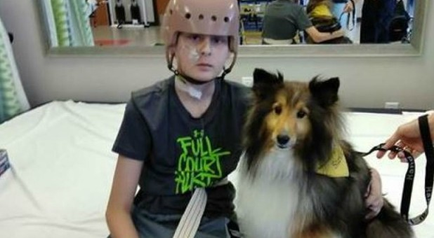 Trenton and Stevie the service dog.