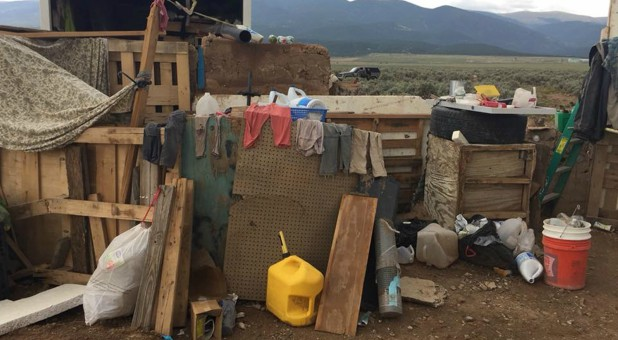 Conditions at a compound in rural New Mexico, where 11 children were taken into protective custody for their own health and safety after a raid by authorities, are shown in this photo near Amalia, New Mexico.