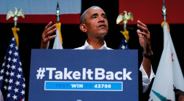 Former U.S. President Barack Obama participates in a political rally for California Democratic candidates.