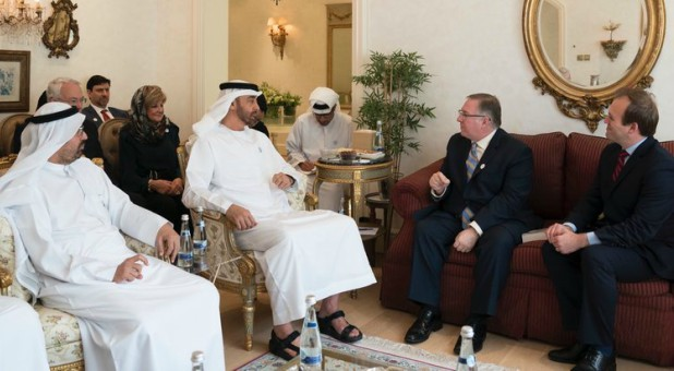 His Highness Sheikh Mohammed bin Zayed Al Nahyan, crown prince of Abu Dhabi (center), welcomes a delegation of American evangelicals, including Joel C. Rosenberg (on couch, left) and Rev. Johnnie Moore (on couch, right), into his home.
