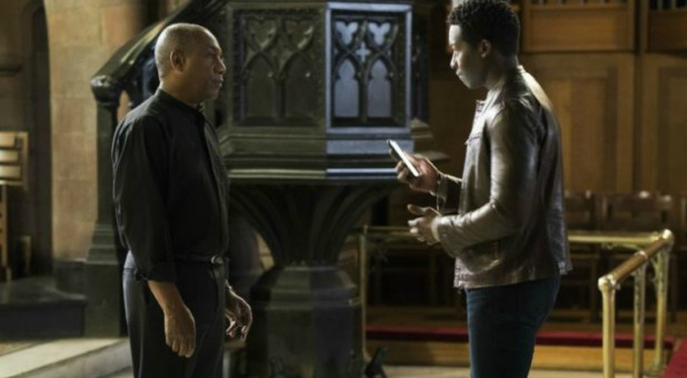 "Joe Morton, left, and Brandon Micheal Hall star in ""God Friended Me,"" in which Hall's character, Miles Finer—the atheist son of an Episcopal priest, played by Morton—receives a friend request from God on social media."