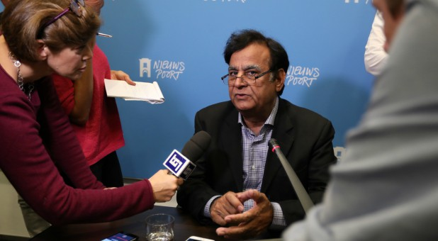 Saiful Mulook, lawyer of Christian woman Asia Bibi, addresses a news conference at the International Press Centre in The Hague.