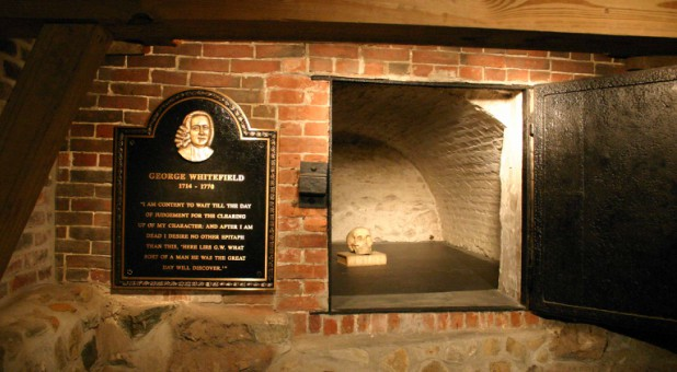 George Whitefield's grave in the crypt of Old South Presbyterian Church, Newburyport, Massachusetts between Jonathan Parsons and Joseph Prince.