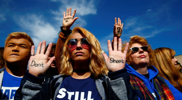 "Attendees are seen before students and gun control advocates hold the ""March for Our Lives"" event demanding gun control after the shooting at Marjory Stoneman Douglas High School in Parkland, Florida."