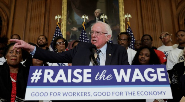 "U.S. Senator Bernie Sanders speaks during a news conference on ""Raise the Wage Act"" legislation."