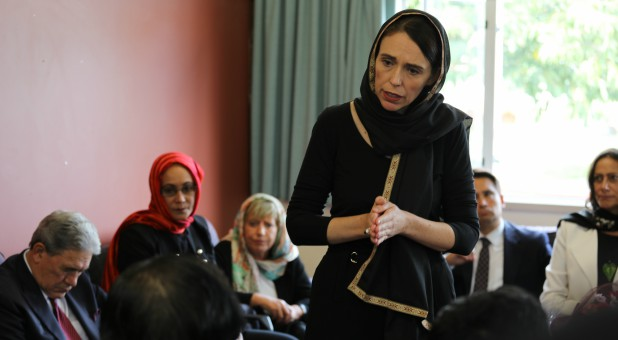 New Zealand Prime Minister Jacinda Ardern speaks to representatives of the Muslim community at Canterbury refugee center in Christchurch, New Zealand.