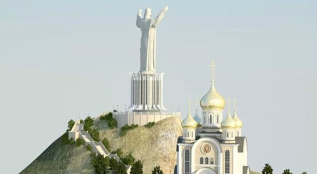 An artistic rendering of the statue of Christ planned for Vladivostok in eastern Russia.