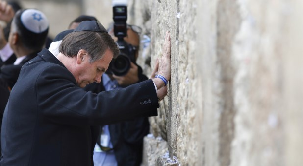 Brazilian President Jair Bolsonaro visits the Western Wall in Jerusalem's Old City.