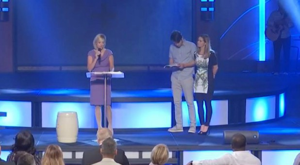 Paula White Cain with Brad and Rachel Knight.