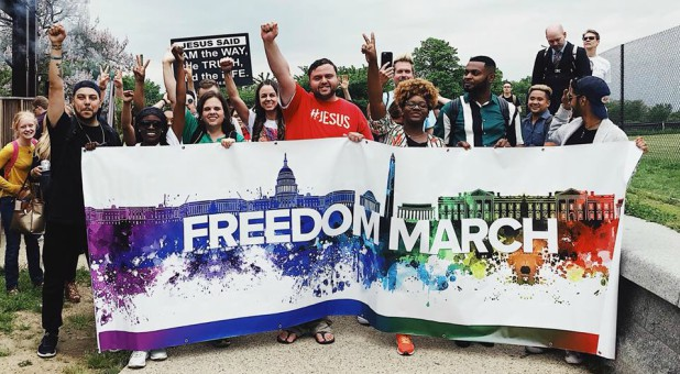 Members of the Freedom Family march on D.C.