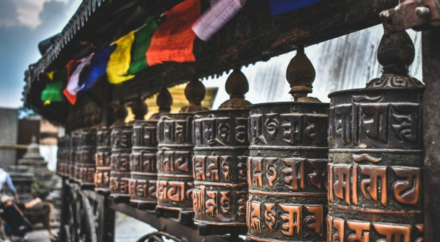 Prayer wheels in Nepal.