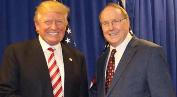 President Donald Trump (L) with Dr. James Dobson (R)